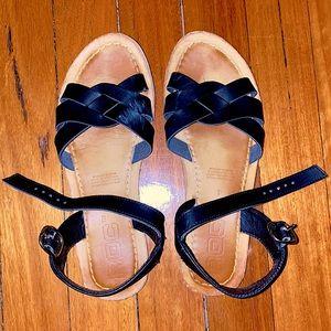 Black/Navy Blue Leather Sandals